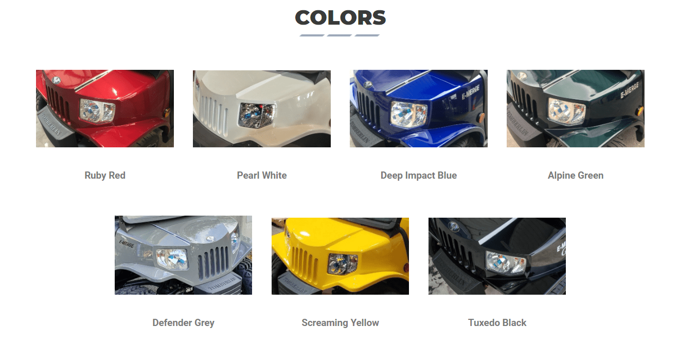 Tomberlin E-MERGE SS Color Options