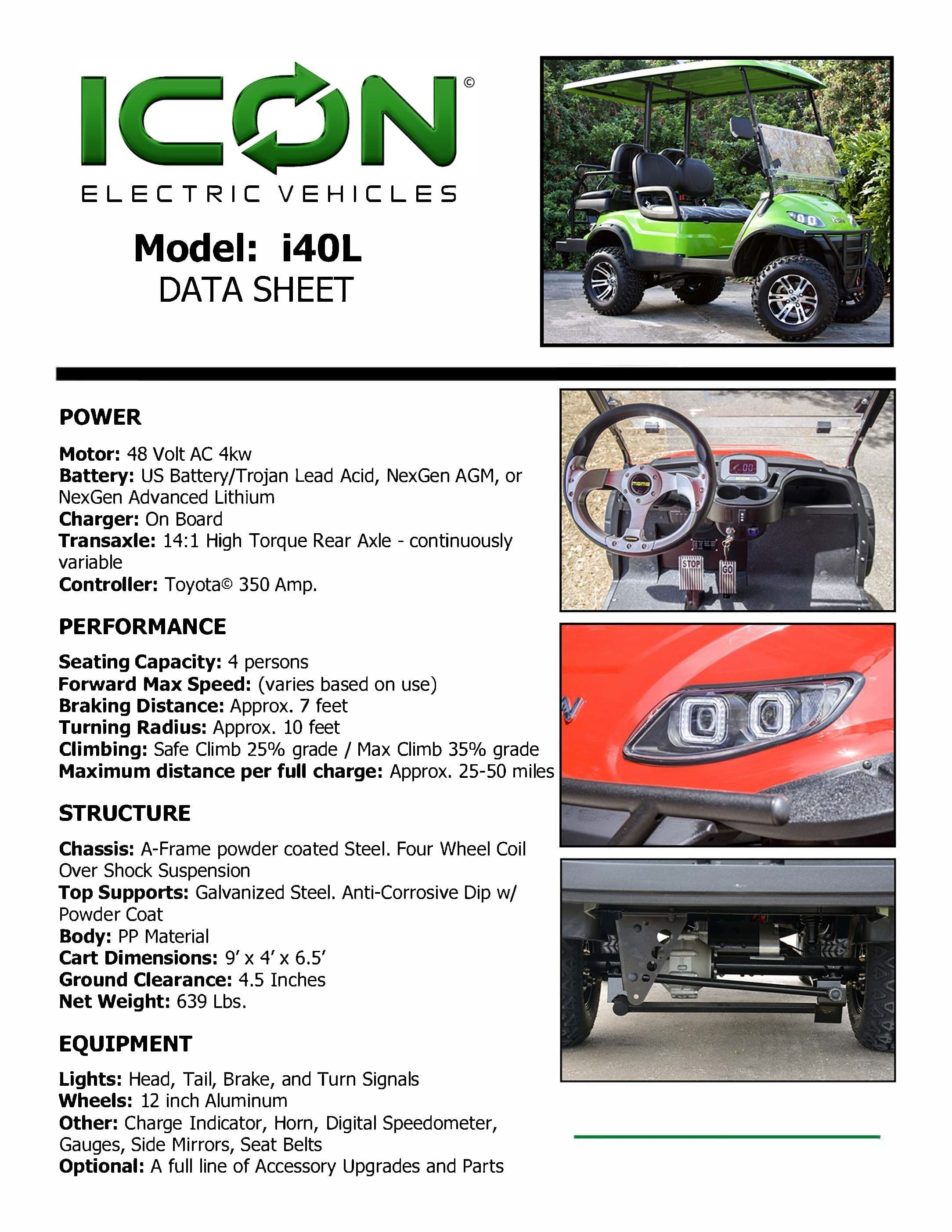 ICON i40L Electric Golf Cart data sheet